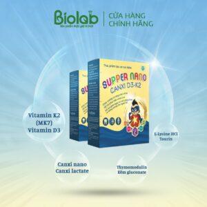 SUPPER NANO CANXI D3 K2 (giúp xương và răng chắc khỏe, hỗ trợ phát triển chiều cao, giảm nguy cơ còi xương ở trẻ và loãng xương ở người lớn) ( 20 ỐNG )
